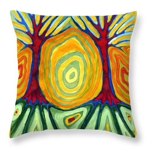 Colour Throw Pillow featuring the painting Labyrinth by Wojtek Kowalski