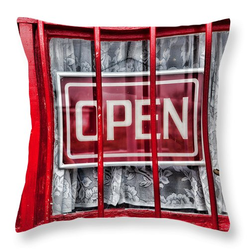 Window Throw Pillow featuring the photograph Lace And Bars by Toni Hopper