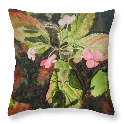 Flowers Throw Pillow featuring the painting Lace Cap 1 by Jean Blackmer