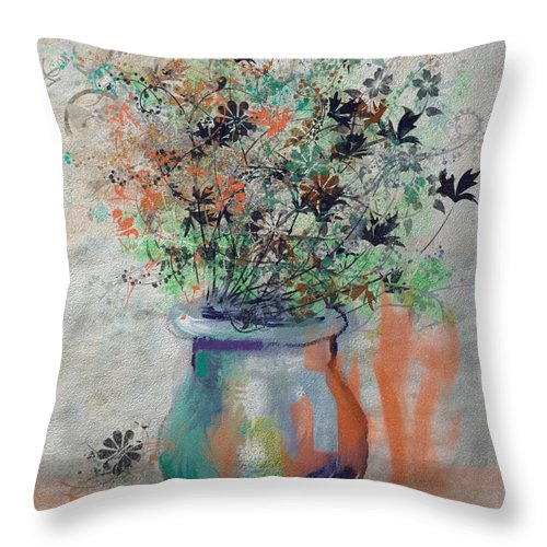 Flowers Throw Pillow featuring the digital art Lacy Bouquet by Arline Wagner