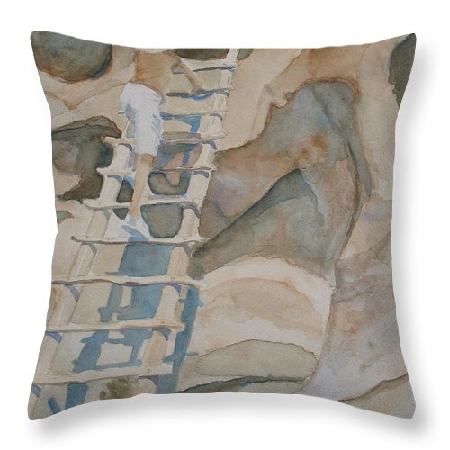 Ruins Throw Pillow featuring the painting Ladder To The Past by Jenny Armitage