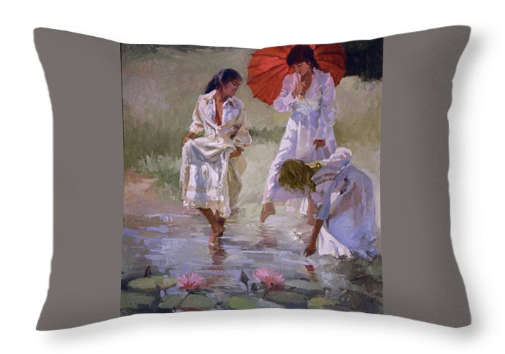 Figurative Throw Pillow featuring the painting Ladies And Lilies by Betty Jean Billups