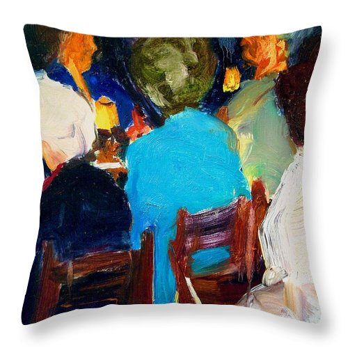 Dornberg Throw Pillow featuring the painting Ladies Club by Bob Dornberg