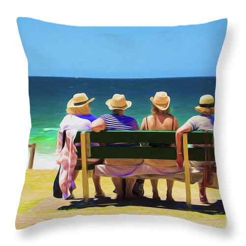 Ladies In Hats Throw Pillow featuring the photograph Ladies day out by Sheila Smart Fine Art Photography