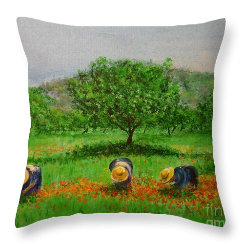 Club Diario De Ibiza Throw Pillow featuring the painting Ladies In Poppy Fields Ibiza by Lizzy Forrester