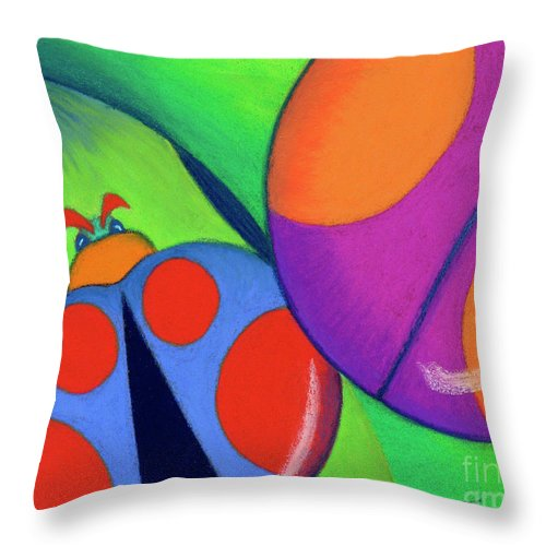 Bug Throw Pillow featuring the pastel Ladies On A Leaf by Tracy L Teeter