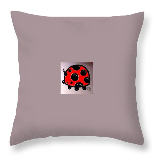 Lady Bug Throw Pillow featuring the drawing Lady Bug by James Rankin
