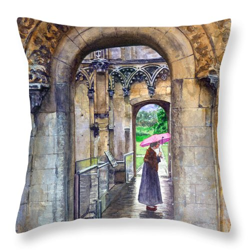 Glastonbury Throw Pillow featuring the painting Lady Chapel by John D Benson