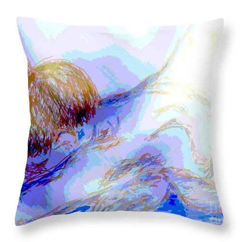 Lady Throw Pillow featuring the digital art Lady Crying by Shelley Jones