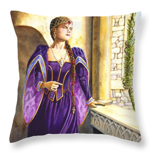 Camelot Throw Pillow featuring the painting Lady Ettard by Melissa A Benson