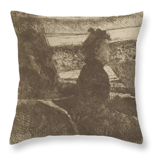 Throw Pillow featuring the drawing Lady In Black, In A Loge, Facing Right by Mary Cassatt