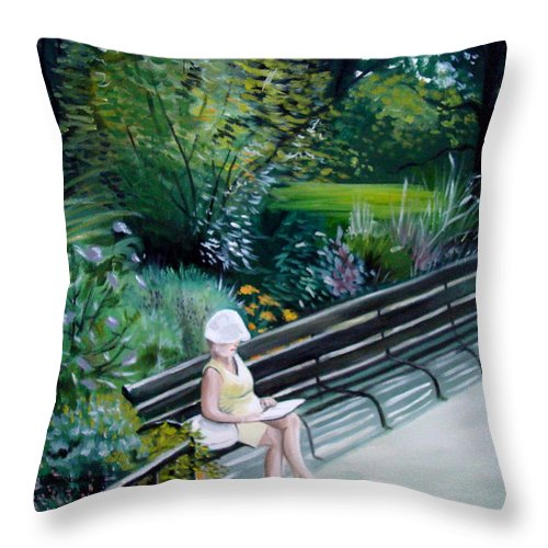 Landscape Throw Pillow featuring the painting Lady In Central Park by Elizabeth Robinette Tyndall