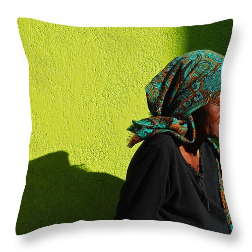 Africa Throw Pillow featuring the photograph Lady In Green by Skip Hunt