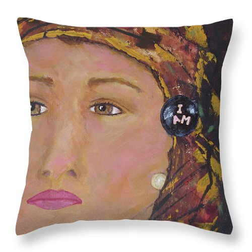 Women Throw Pillow featuring the painting Lady in Head Scarf by Shelley Jones