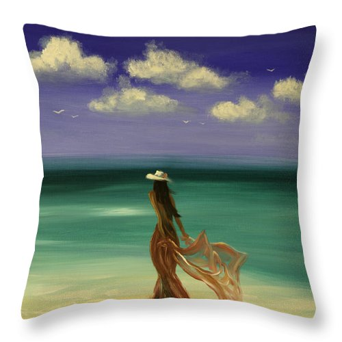 Nice Throw Pillow featuring the painting Lady In Red by Gina De Gorna