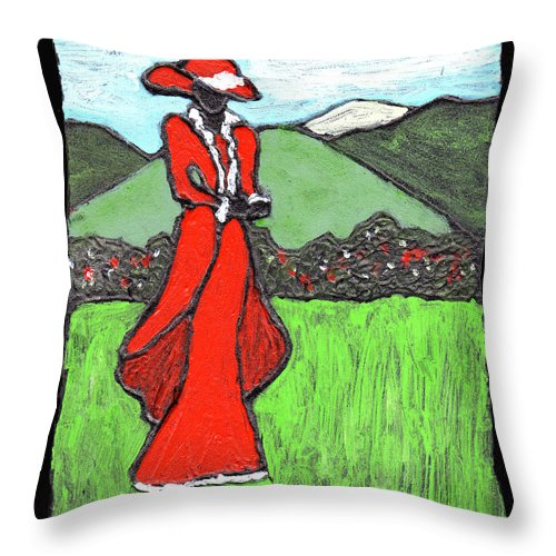 Red Throw Pillow featuring the painting Lady In Red by Wayne Potrafka
