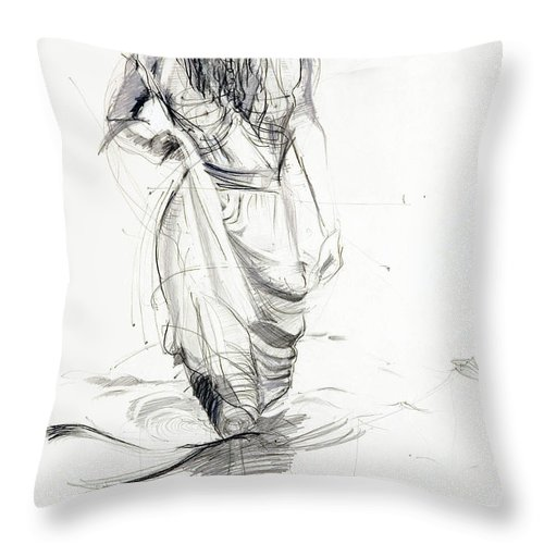 Woman Throw Pillow featuring the drawing Lady In The Waters by Kerryn Madsen-Pietsch