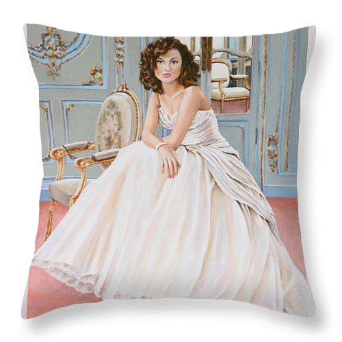 Woman Lady In Waiting Chair Bridal Bride Elegant Light Painting Acrylic Andy Lloyd Blue Ornate Walls Window Throw Pillow featuring the painting Lady In Waiting by Andy Lloyd