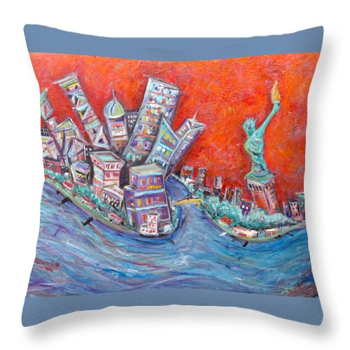 Statue Of Liberty New York City Wall Steet Manhattan Hudson River New Jersey State Park Ellis Island Throw Pillow featuring the painting Lady Liberty by Jason Gluskin