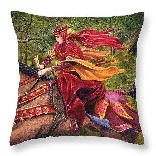 Camelot Throw Pillow featuring the painting Lady Lunete by Melissa A Benson