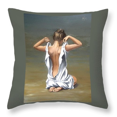 Lady Girl Woman Figurative Figure Nude Portrait Fine Art Female Throw Pillow featuring the painting Lady by Natalia Tejera