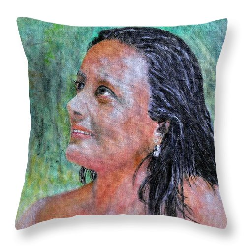 Lady Throw Pillow featuring the painting Lady Of India by Helmut Rottler