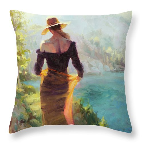 Woman Throw Pillow featuring the painting Lady of the Lake by Steve Henderson