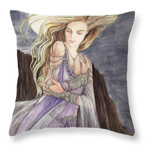 Lady Throw Pillow featuring the painting Lady Of The Moon by Morgan Fitzsimons