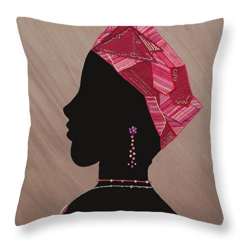 Jewelry Throw Pillow featuring the mixed media Lady Pink by Kayon Cox