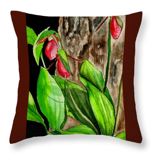 Watercolor Throw Pillow featuring the painting Lady Slippers by Brenda Owen