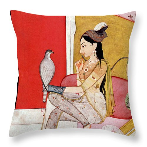 Lady Throw Pillow featuring the painting Lady With A Hawk by Guler School