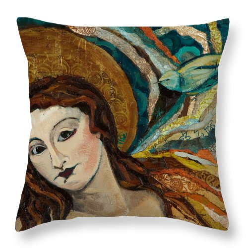 Figure Throw Pillow featuring the mixed media Lady With Bird by Michele Norris