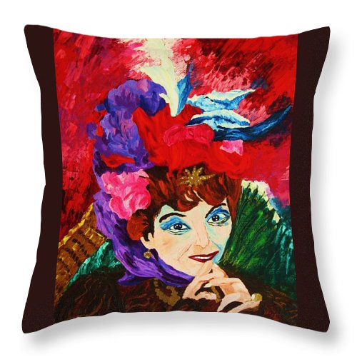 Red Hats Throw Pillow featuring the painting Lady With The Red Hat by Carole Spandau