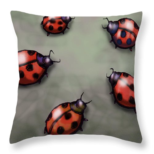 Ladybug Throw Pillow featuring the digital art Ladybugs by Kevin Middleton