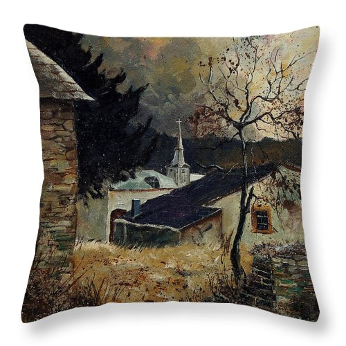 Tree Throw Pillow featuring the painting Laforet Ardennes Village by Pol Ledent