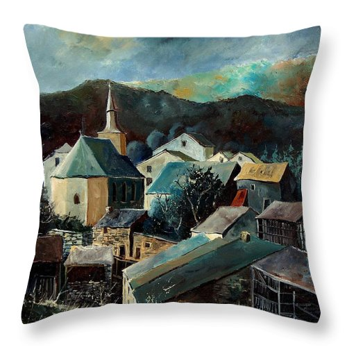 Landscape Throw Pillow featuring the painting Laforet Village by Pol Ledent