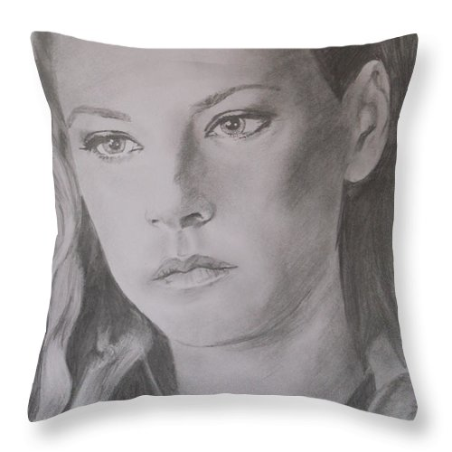 Portrait Throw Pillow featuring the drawing Lagertha by Darren Downes