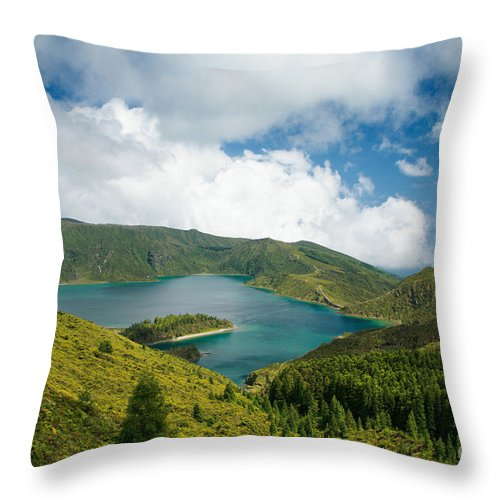 Lagoa Do Fogo Throw Pillow featuring the photograph Lagoa Do Fogo by Gaspar Avila