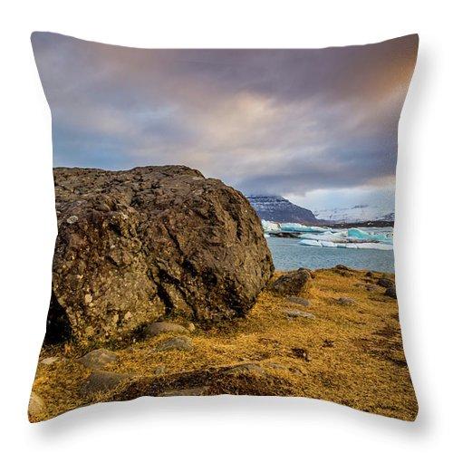 Jökulsárlón Throw Pillow featuring the photograph Lagoon Overlook by Gary Fossaceca