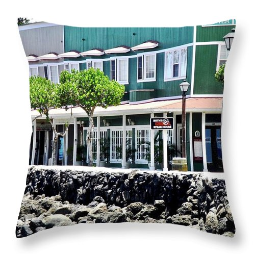 Lahaina Throw Pillow featuring the photograph Lahaina Center on Front Street by Kirsten Giving