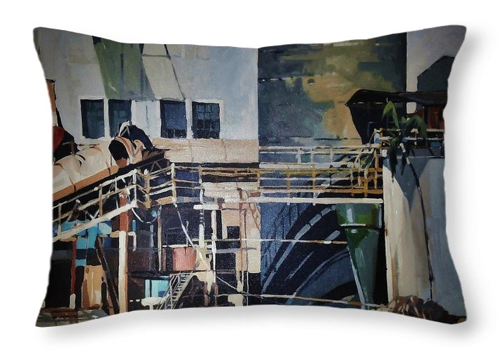 History Of Lahaina Landmark Throw Pillow featuring the painting Lahaina Sugar Mill by Andrew Drozdowicz
