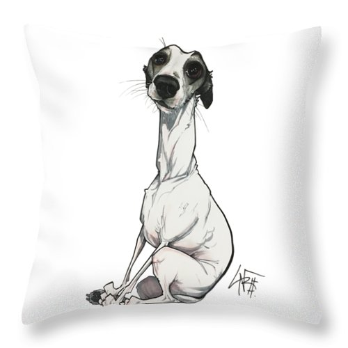 Pet Portrait Throw Pillow featuring the drawing Lainhart 3201 by John LaFree