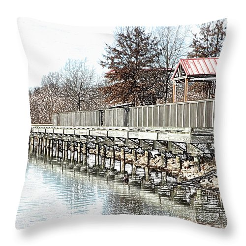 Lakes Throw Pillow featuring the photograph Lake by Amanda Barcon