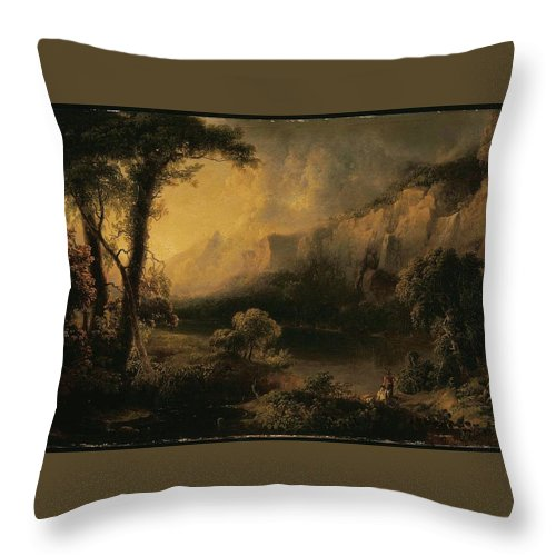 Lake And Mountains Throw Pillow featuring the painting Lake And Mountains by MotionAge Designs