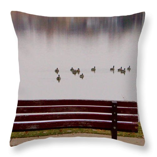 Aspen Throw Pillow featuring the photograph Lake Bench by James BO Insogna