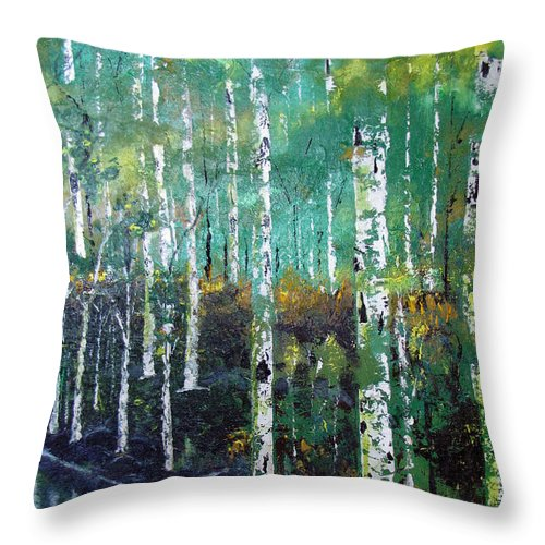 Waterfalls Throw Pillow featuring the painting Lake Birch by Gary Smith