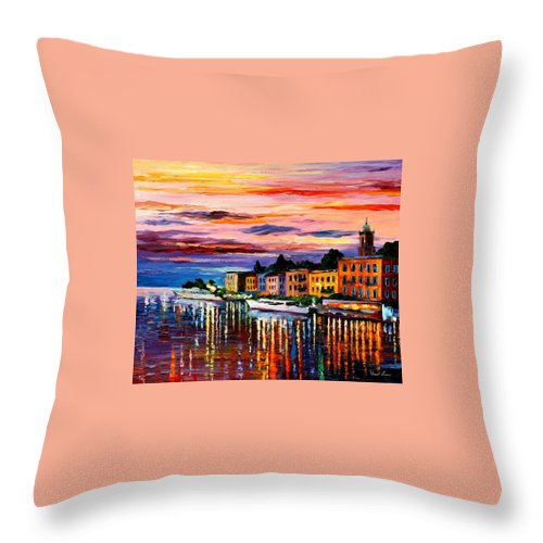 Cityscape Throw Pillow featuring the painting Lake Como - Bellagio by Leonid Afremov