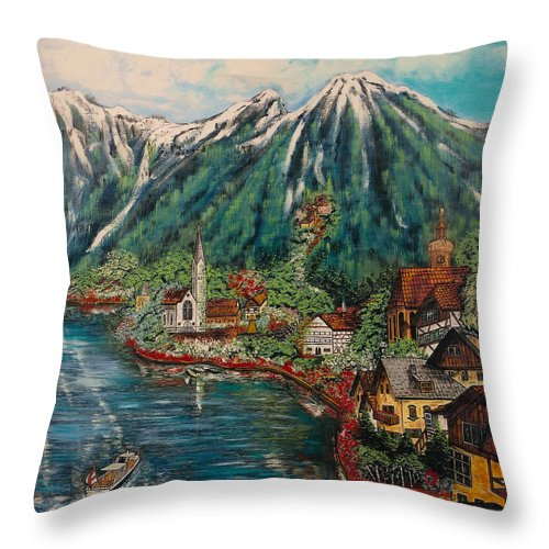 Austria Throw Pillow featuring the painting Lake Constance by V Boge