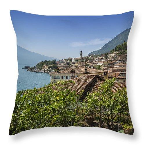 Atmospheric Throw Pillow featuring the photograph Lake Garda Limone Sul Garda by Melanie Viola