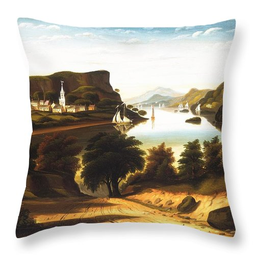 Lake George And The Village Of Caldwell By Thomas Chambers Throw Pillow featuring the painting Lake George And The Village by Thomas Chambers